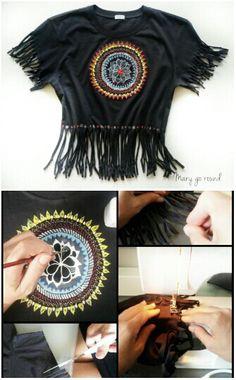 DIY  Mandala tshirt. Cut-sew-draw and life is beautifully beautiful!