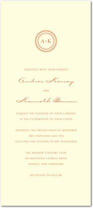 Simple Sundial - Thermography Wedding Invitations - Fine Moments - Mandarin - Orange : Front