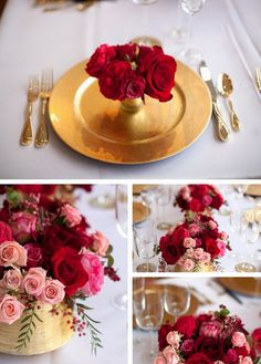 Pink, Red, Gold Colors for Wedding Table When Your Big Day