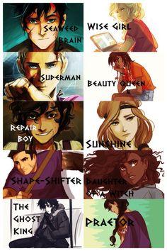 Apodos: Percy-Sesos de alga. Annabeth-Chica lista. Jason-Superman rubio…