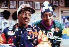 """Coming To America"" movie still, 1988.  L to R: Eddie Murphy, Arsenio Hall."