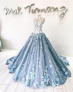 Dusty Blue Tulle Long Applique Evening Dresses, Custom Size Formal Prom Gown by . Quince Dresses, Ball Dresses, Ball Gowns, Evening Dresses, Prom Dresses, Formal Dresses, Winter Dresses, Formal Prom, Bridesmaid Gowns