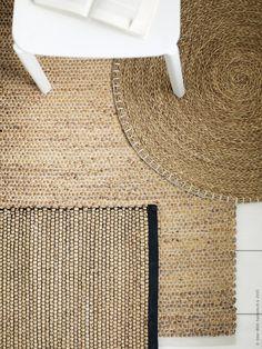 NIPPRIG 2015 matta B76×L114cm, rund matta Ø74cm, är handvävda av vattenhyacint…