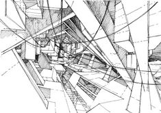 The drawings explore the architectural space freely, without the regular constraints of actual buildings. Anyway the reasons for which we build a space tend to become irrelevant in time. Drawing, you are free to. Space Architecture, Architecture Portfolio, Graphic Score, Deconstructivism, Interior Sketch, Construction, Hand Sketch, Cool Sketches, Layout