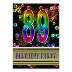 89th Birthday party Invitation with bubbles