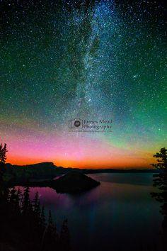 The Aurora Borealis, Andromeda Galaxy and Milky Way over Wizard Island and Fumarole, Crater Lake National Park