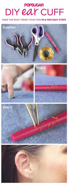 Make your own DIY ear cuff with our easy new tutorial! - Make your own DIY ear cuff with our easy new tutorial! Wire Crafts, Jewelry Crafts, Handmade Jewelry, Diy Schmuck, Schmuck Design, Wire Wrapped Jewelry, Wire Jewelry, Antique Jewelry, Ear Cuff Jewelry