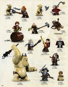 Lego The Hobbit mini figures. Tolkien, Lego Le Hobbit, Legos, The Hobbit Characters, Arte Dc Comics, Goblin King, Lego Minifigs, Cool Lego Creations, Lego Worlds