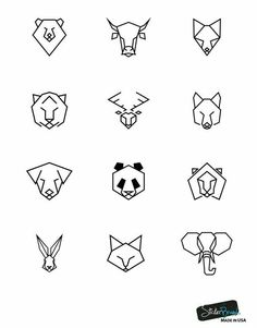 Bear Bull Fox Tiger Deer Wolf Dog Panda Lion Rabbit Cat and Elephant Geometric A. - Bear Bull Fox Tiger Deer Wolf Dog Panda Lion Rabbit Cat and Elephant Geometric Animal Pattern Wall - Trendy Tattoos, Cute Tattoos, Body Art Tattoos, New Tattoos, Easy Tattoos To Draw, Men Finger Tattoos, Easy Drawings, Tattoo Drawings, Simple Animal Drawings