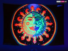 """Sun+Moon"" UV-Blacklight Fluorescent Glow Psychedelic Art Backdrop, £90 in Tripleview Art Shop. #psychedelic #psy #goa #trance #psytrance #goatrance #rave #club #festival #trippy #hippie #esoteric #mystic #spiritual #visionary #symbolism #UV #ultraviolet #blacklight #fluorescent #fluoro #fluo #neon #glow #luminescent #art #backdrop #banner #wallhanging #tapestry #deco #sunandmoon #sunmoon #kiss #yinyang #rainbow #love"