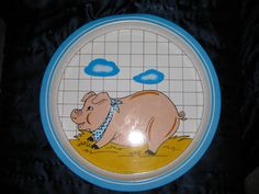 Happy Pig in Hay Metal SNP 1984 by ChinaGalore on Etsy, $15.99