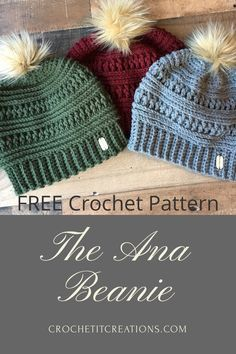 The Ana Beanie's trendy style will be your favorite accessory this winter. FREE crochet pattern by Crochet It Creations