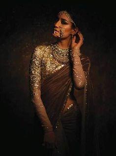 The Sabyasachi lehenga sari, sensuous and graceful at once. Wear at your cocktail or reception. Visit www.bridelan.com for details. #Bridelan #Sabyasachi #sabyasachiweddinglehenga