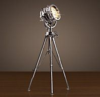 Whether you're sending out a distress call in Morse code or setting the mood in your nautical themed living room, the Royal Master Sealight Floor Lamp from Restoration Hardware is just awesome. Restoration Hardware Floor Lamps, Floor Restoration, Chandeliers, Glass Chandelier, Spotlight Floor Lamp, Hollywood Bedroom, Diy Floor Lamp, Vintage Industrial Decor, Industrial Bedroom