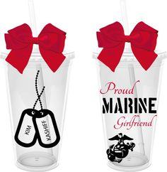 Proud Marine Girlfriend 16 oz. Personalized Acrylic Tumbler on Etsy, $12.00