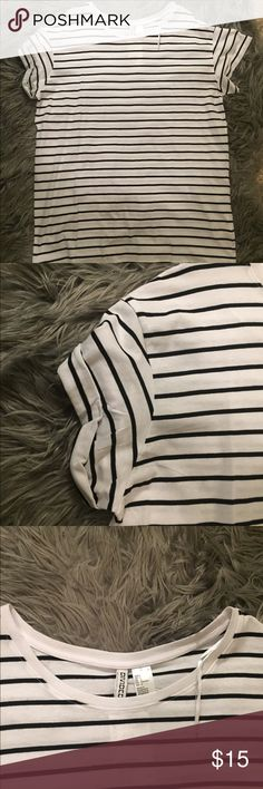 Tunic Stripe Tee I do not trade.  Worn once. Black and white H&M Tops Tunics
