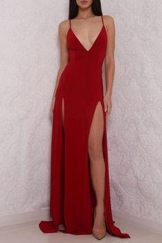 Sexy Deep V Neck Red Prom Dress, High Slit Prom Dress, Sexy Backless Gown, Backless Evening Dress, P on Luulla Straps Prom Dresses, Backless Prom Dresses, A Line Prom Dresses, Ball Dresses, Cheap Dresses, Sexy Dresses, Dress Prom, Evening Dresses, Long Dresses