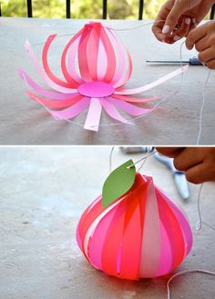 November Sint Maarten This lantern consists of transparent paper strips . - November Sint Maarten This lantern consists of transparent paper strips … - Paper Christmas Ornaments, Christmas Diy, White Christmas, Diwali Decorations, Christmas Decorations, Diy And Crafts, Crafts For Kids, Navidad Diy, Ideias Diy