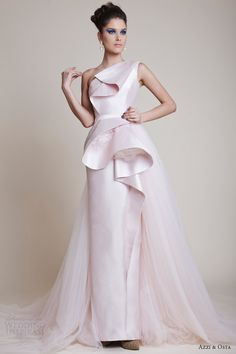 Light Pink couture Dress 2014 | azzi and osta couture dresses spring 2014 pale pink one shoulder gown