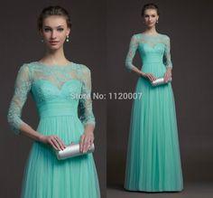 2015 Vestido De Festa Longo High Waist Long Mint Green Modest Prom Dresses with Sleeves Plus Size Lace for Pregnant Dress