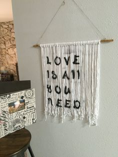 Love is all you need wall hanging tapestry by AnicheBohoStudio British Gifts, Tapestry Wall Hanging, Love Is All, Trending Outfits, Unique Jewelry, Handmade Gifts, Etsy, Vintage, Kid Craft Gifts