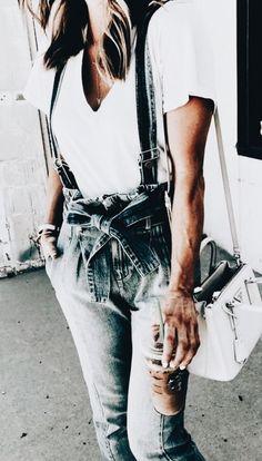Denim overalls with waist tie