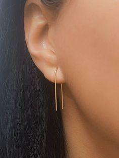 MOTHER DAY - Arc earring, U shaped open hoop, Thread Earrings, Threader Earrings, Staple earring, Tr