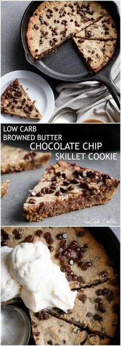 Low Carb Browned Butter Chocolate Chip Skillet Cookie! #LowCarb#LCHF #Gluten Free #Vegan Substitutes | https://cafedelites.com