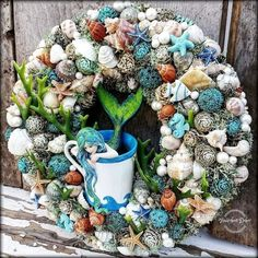 Beach Crafts, Summer Crafts, Diy Crafts, Shell Decorations, Topiary, Mermaids, Advent, Stained Glass, Succulents