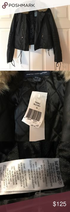 NWT French Connection fur trim coat No flaws brand new no trades please French Connection Jackets & Coats