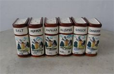 "6 ""BOOK"" SPICE CONTAINERS Ceramic Multi-Color Windmill Motif Salt Pepper Nutmeg Cinnamon Ginger Allspice Paprika Vol. 1-6 Japan Late 1900's by OnceUpnTym on Etsy"