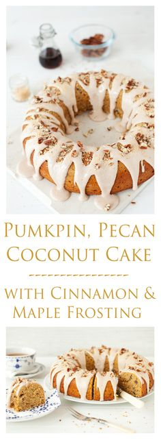 This cake fits the bill perfectly for autumn.  It has an inviting aroma of seasonal spices. It has sweet pumpkin. It has luscious soured cream. It has texture from the pecans and coconut. It has an amazing cinnamon and maple syrup icing dribbled all over it. Oh yes, this is one delectable cake.