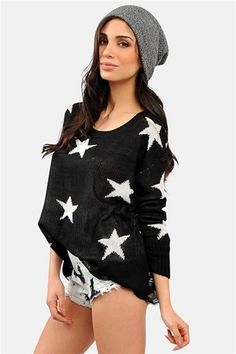 Star Me Please Knit - Black @ Necessary Clothing. Get an EXCLUSIVE 25% off at Necessary Clothing TODAY ONLY with promo code SCHOOLRULES1 http://www.necessaryclothing.com/