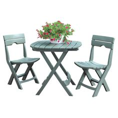 Enjoy a cocktail on the veranda or dessert in the sunroom with this 3-piece indoor/outdoor collapsible patio set, featuring a sage finish and essential umbre...