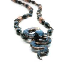 Glass Snake Necklace, Halloween, Black Onyx Gemstone, Copper, Edgy, Serpent, Cobra. $60.00.