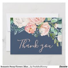 Romantic Peony Flowers Blue Thank You Card Romantic Wedding Receptions, Romantic Weddings, Elegant Wedding, Wedding Ideas, Blue Wedding, Wedding Rsvp, Wedding Inspiration, Card Wedding, Summer Weddings