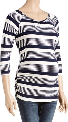 ed15c4edfd25d Navy & Cream Stripe Lace-Back Ruched Maternity Top Maternity Tops, Lace  Back,