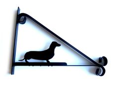 Dachshund (Sausage Dog) Silhouette Scroll Style Hanging Basket Bracket Solid…