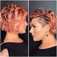 My first haircut with the side shave was inspired by last year then I started growing the back out based on a cut posted of growing out her lob. I love how many amazing styles are shared on IG. Who is your hair inspiration? Rose Gold Hair Dye, Rose Gold Hair Brunette, Undercut Hairstyles Women, Short Hair Undercut, Haircuts, Medium Short Hair, Short Hair Cuts, Creative Hair Color, Asymmetrical Hairstyles