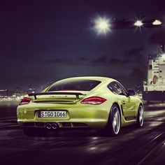Lime green Porsche Cayman R at midnight! WOW