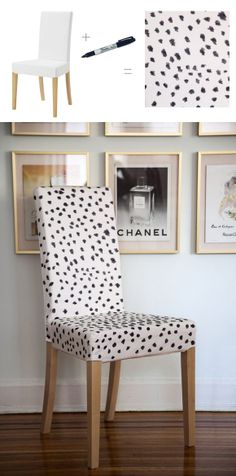 25 Easy and Creative Sharpie Crafts - Leopard Seat Cover!  So chic! OBSESSED with the wall of frames