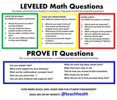Leveled math questions to engage, level, and differentiate math instruction… Math Teacher, Math Classroom, Teaching Math, Teacher Table, Teacher Binder, Math Strategies, Math Resources, Math Coach, Math Talk