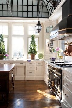 Stunning green-house ceiling and the coordinating metal hood of the stove make this kitchen a stand-out!
