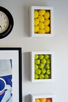 DIY Wall art with large fake fruits