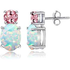 Glitzy Rocks Sterling Silver Created Opal  Tourmaline Earrings ($28) ❤ liked on Polyvore featuring jewelry, earrings, tourmaline earrings, round earrings, butterfly earrings, tourmaline jewelry and opal earrings