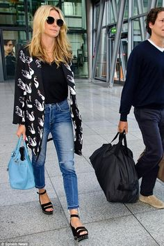 Heidi Klum wearing Hermes Birkin Bag in Blue Jean and Newbark Maggie Wedges
