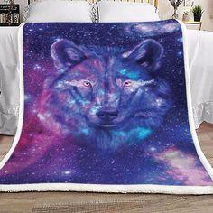 Wolf Galaxy Sherpa Fleece Blanket