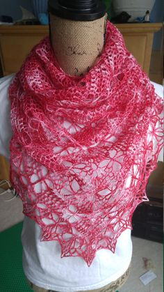 Red Triangle Butterfly Shawl/Wrap by AriadnesCrochetDream on Etsy