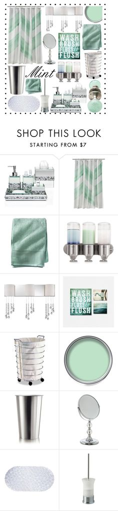 """Mint and Silver Bathroom Decor"" by hmb213 ❤ liked on Polyvore featuring interior, interiors, interior design, home, home decor, interior decorating, Nate Berkus, simplehuman, Possini Euro Design and Eva Solo"