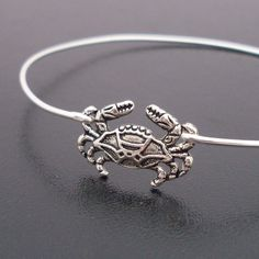 Little Crab Bracelet, Beach Jewelry, Silver Crab Bangle, Beach Bangle, Beach Bracelet, Cute Crab Jewelry, Cancer Zodiac Sign, Zodiac Jewelry. $17.95, via Etsy.